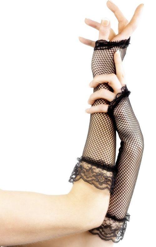 Síťované rukavice - černé - bez prstů