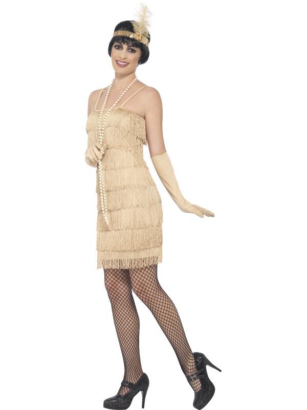 Kostým - Flapper - krátké šaty - zlaté 03a607c2651