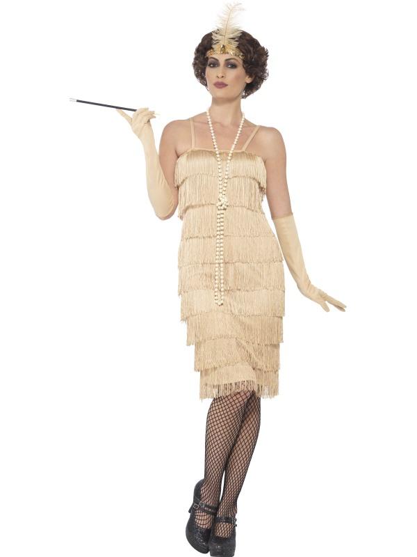 Kostým - Flapper - dlouhé šaty - zlaté 6333969f176
