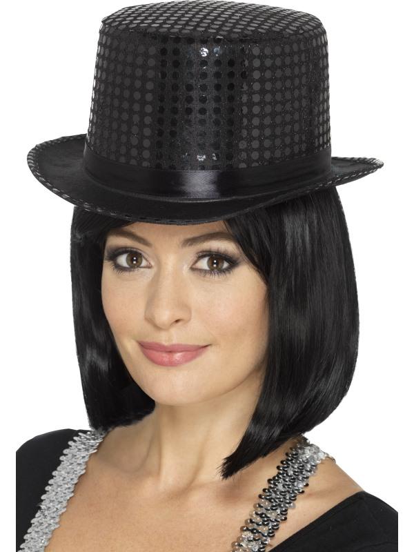 Flitrový klobouk - černý ca030ebe38